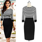 Women Long Sleeve Striped Bodycon Winter Casual Party Evening OL Pencil Dress ML