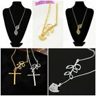 Women Lovely Branch Cross Leaf Bird Silver/Gold Pendant Charm Necklace Chain Hot