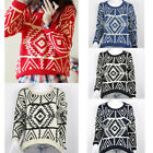 2014 Womens Geometric Pattern Casual Pullover Knitted Bop Sweater Outwear Tops