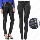 WOMENS LADIES BLACK PU ZIP FRONT JEANS LEATHER LOOK SKINNY STRETCH FIT TROUSERS