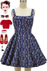 50s Style Adorable NAVY OWL Print Fold Over Bust Bombshell PINUP Full Sun Dress