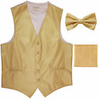 New Men's Formal Vest Tuxedo Waistcoat bowtie  hankie set stripes gold party