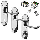 Polished Chrome Richmond Door Lever Handle Standard Set Latch Lock Bathroom Pair