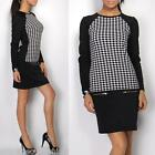 Beautiful Elegant Womens Ladies Dog Tooth Dress with Long Sleeve S/M L/XL