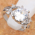 HOT OVAL WHITE TOPAZ GEMSTONES SILVER RING Size 6 7 8 9 T6682
