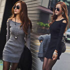 Sexy Womens Long Sleeve Slim Fit Off Shoulder Sweater Jumper Bodycon Mini Dress