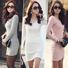 Fashion Women Long Sleeve Knitted Bodycon Cocktail Casual OL Winter Mini Dress