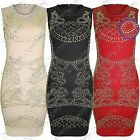 NEW WOMENS LADIES GOLD STUDDED FRONT DRESS BODYCON BLACK PARTY MINI LOOK DRESSES