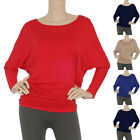 IRON PUPPY Women,Plus L/Slv Solid Dolman Batwing MODAL Tunic Soft T-Shirts Top