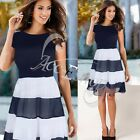 New Womens Vintage Celeb Stripe Party Wear To Work Chiffon Tunic Skater Dress