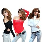 Sexy Women's Off Shoulder T-Shirt Boat Neck Long Sleeve Slim Fit Blouse Crop Top