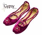 Womens Magenta Beaded Velvet Ankle Wrap Indian Leather Khussa Shoes Pumps