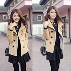 Womens Double Breasted Trench Winter Coat Girl's Peacoat Short Jacket Coat NB