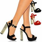WOMENS LADIES BLOCK HIGH HEEL PLATFORM PEEP TOE ANKLE STRAP SANDALS COURT SHOES