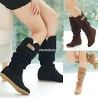 Women Round Toe Slouch Boots Lace Mid Cuff  Flat Heel Stretch Woolen Shoes N98B