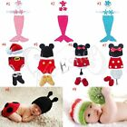 HANDMADE NEWBORN BABY GIRL CROCHET KNIT XMAS COSTUME OUTFITS BEANIE PHOTO PROPS
