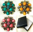 """Faceted Veined Crystal Bronze Flower Pin Brooch    6.5cm 2.6""""  Gift Box"""