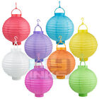 "1/2/5/10 pack Round Color Paper Lantern with LED Light 8"" 10"" Decoration Wedding"