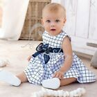 Baby Girls Costume Kids Cotton Top Bowknot Plaids Dress Clothing Size 0 1 2 3