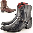 Mens Cowboy Boots Snake Skin Full Zip Western Cowboy Ankle Size 6 7 8 9 10 11 12