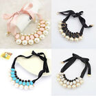 New Lady Woman Luxury Sweet Pearl Statement Collar Ribbon Bib Choker Necklace