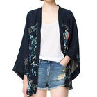 XZ0037 Ladies Phoenix Floral Printed Draped Cardigan Kimono Blouse Loose jacket