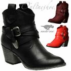Womens Girls Rocket Dog Satire Cowboy Ankle Boots Cuban Heel Red Black Burgundy