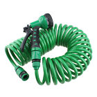 7.5M 10M 25FT 32FT Coiled Garden Car Wash Down Water Hose & Spray Nozzle