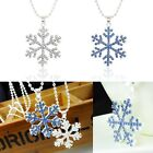 Fashion XMAS Silver Necklace Crystal Snowflake Pendant Charm Chain GIFT Necklace
