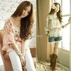Womens Floral Chiffon Tops Batwing Short Sleeve Loose T-Shirt Blouse Tee N98B