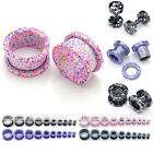 "Pair Steel 12g-5/8"" Colorful Dots Flared Screw Tunnels Ear Plugs Expander Gauge"
