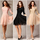 Women 3/4 Sleeve lace crochet Dress Slim Fit Tunic Evening Party Dress Ball Gown
