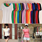 16 candy Colors Women sweater Casual Short Sleeve Round Neck Shirt Top T-shirt