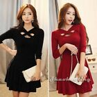 2015 Korean Women Bandage Party Club Cocktail Casual Sweater Sexy Mini Dress Red
