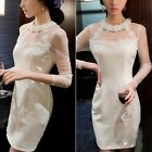 Luxury Ladies Sexy Floral Mesh Patchwork Slim Bodycon Cocktail Party Mini Dress
