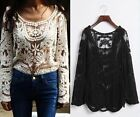 Women Lady Sexy Embroidery Floral Lace Crochet Long Sleeve Tops Blouses T Shirts