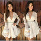 New Sexy Women White Lace Long Sleeve Deep V neck Cocktail Party Evening Dress