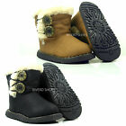 GIRLS INFANT TODDLER QUILTED BUTTON WARM FUR LINED WINTER ANKLE SHOES BOOTS