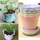 Wavy Planter Holder Flower Pot with Tray Saucers Home Party Graden Decor Plastic