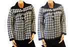 New Classic Vtg 1950's style Blue Black/white Hound tooth Swing Cardigan