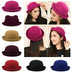 Vogue Ladies Women Fashion Vintage Wool Ears Cute Trendy Solid Bowler Derby Hat