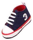 Infant Baby Boy Layette Navy Soft Sole Crib Shoes Size Newborn to 18 Months
