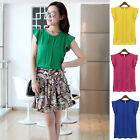 New Fashion Womens Chiffon Tulip Short Sleeve Casual Shirt Loose Blouse Tops