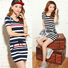 U Women's Casual Round Neck Strip Navy T-shirt Short Sleeve Skirt Slim Dress New