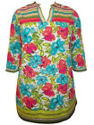 ULLA POPKEN Bordered FLORAL Sketch Print Stretch Cotton Tunic Top 12/14 to 28/30
