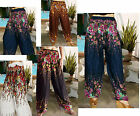 LADIES HAREM PANTS- BAGGY SMOCKED - THAI BEACH CHIC-FLORAL -VARIOUS COLOURS