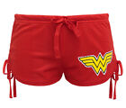 DC Comics Wonder Woman Logo Women's Mesh Side-Tie Shorts - Red w/ Stars