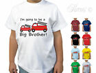 I'M GOING TO BE A BIG BROTHER FIRE ENGINE BOYS DESIGNER T SHIRT CHILDRENS