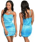 New Women Sexy Evening Party Clubwear Blue Pleated with Stone Dress