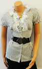 Shiny White Grey Stripe Office Work Secretary Ruffle VTG Style Shirt Blouse
